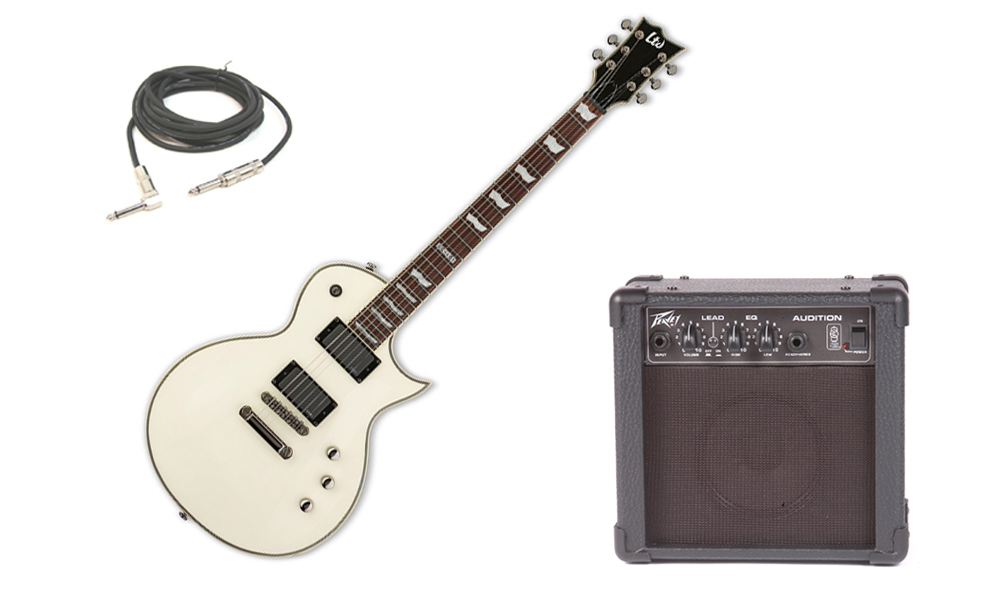 "ESP LTD EC Series EC-401 Mahogany Body 6 String Rosewood Fingerboard EMG Pickups Olympic White Electric Guitar with Peavey Audition Practice Amp & 1/4"" Cable"