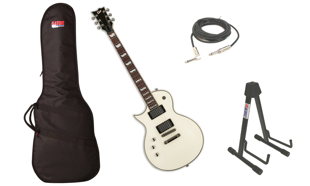 """ESP LTD EC Series EC-401 Mahogany Body 6 String Rosewood Fingerboard EMG Pickups Olympic White Electric Guitar (Left Hand) with Travel Gig Bag, Stand & 1/4"""" Cable"""