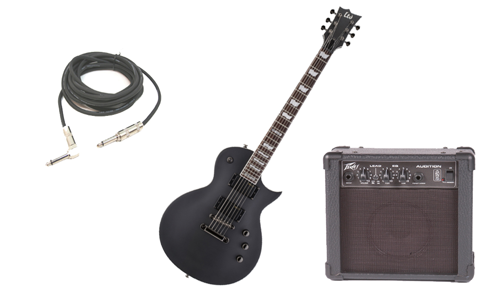 "ESP LTD EC Series EC-331 Mahogany Body 6 String Rosewood Fingerboard Black Satin Electric Guitar with Peavey Audition Practice Amp & 1/4"" Cable"