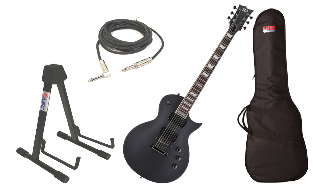"ESP LTD EC Series EC-331 Mahogany Body 6 String Rosewood Fingerboard Black Satin Electric Guitar with Travel Gig Bag, Stand & 1/4"" Cable"