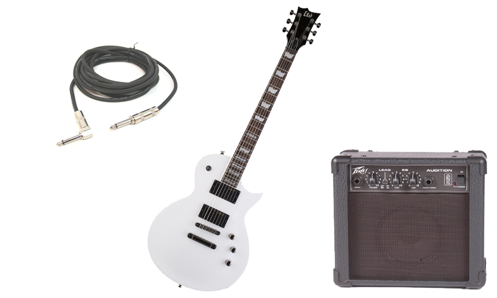 """ESP LTD EC Series EC-331 Mahogany Body 6 String Rosewood Fingerboard Snow White Electric Guitar with Peavey Audition Practice Amp & 1/4"""" Cable"""