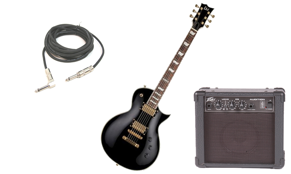 """ESP LTD EC Series EC-256 Mahogany Body 6 String Rosewood Fingerboard Black Electric Guitar with Peavey Audition Practice Amp & 1/4"""" Cable"""