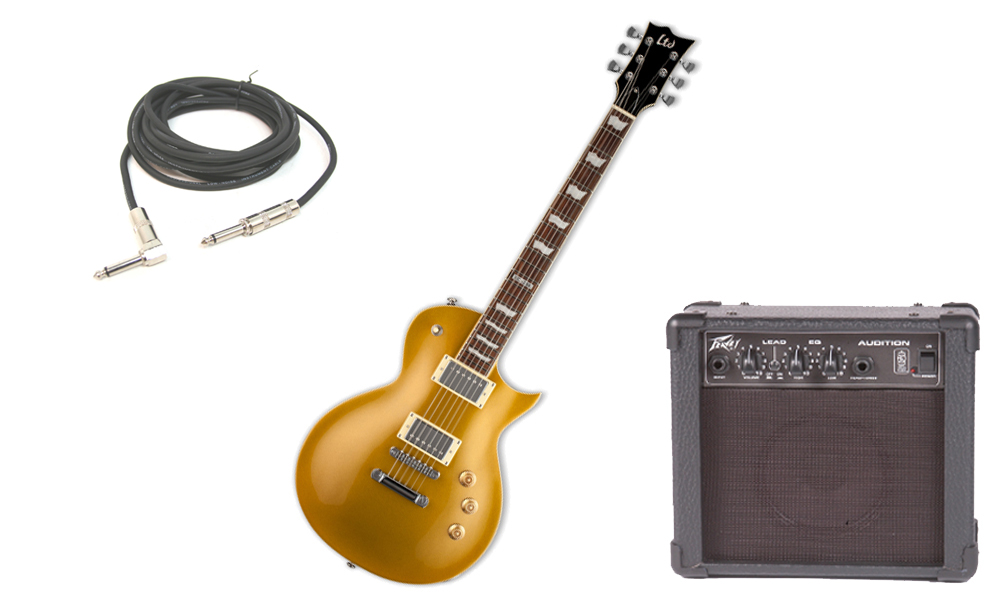 """ESP LTD EC Series EC-256 Mahogany Body 6 String Rosewood Fingerboard Metallic Gold Electric Guitar with Peavey Audition Practice Amp & 1/4"""" Cable"""