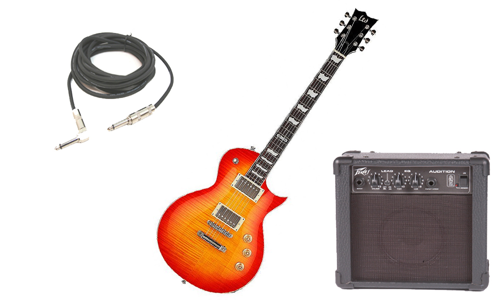 """ESP LTD EC Series EC-256 Flamed Maple 6 String Rosewood Fingerboard Cherry Sunburst Electric Guitar with Peavey Audition Practice Amp & 1/4"""" Cable"""