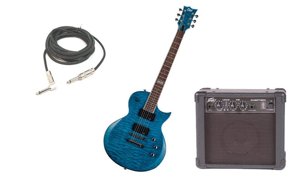 "ESP LTD EC Series EC-200 Quilted Maple 6 String Rosewood Fingerboard See Through Blue Electric Guitar with Peavey Audition Practice Amp & 1/4"" Cable"