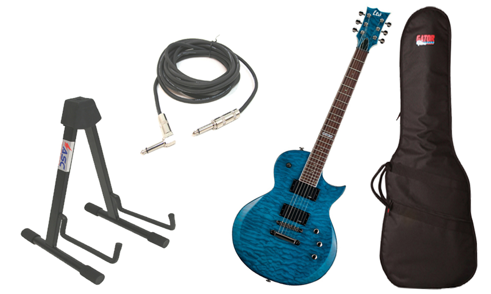 "ESP LTD EC Series EC-200 Quilted Maple 6 String Rosewood Fingerboard See Through Blue Electric Guitar with Travel Gig Bag, Stand & 1/4"" Cable"
