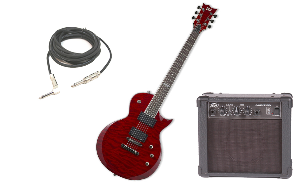 "ESP LTD EC Series EC-200 Quilted Maple 6 String Rosewood Fingerboard See Through Black Cherry Electric Guitar with Peavey Audition Practice Amp & 1/4"" Cable"