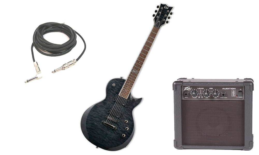 "ESP LTD EC Series EC-200 Quilted Maple 6 String Rosewood Fingerboard See Through Black Electric Guitar with Peavey Audition Practice Amp & 1/4"" Cable"