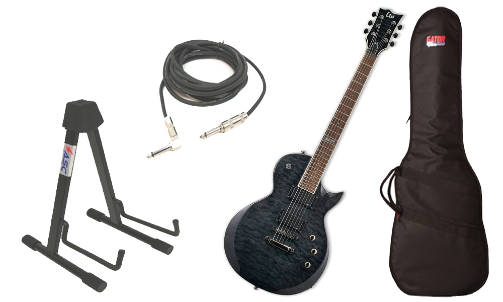 "ESP LTD EC Series EC-200 Quilted Maple 6 String Rosewood Fingerboard See Through Black Electric Guitar with Travel Gig Bag, Stand & 1/4"" Cable"