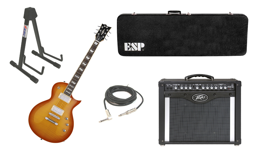 """ESP E-II Eclipse Flamed Maple Top 6 String Vintage Honey Sunburst Electric Guitar with Peavey Envoy 110 Tube Amp, 1/4"""" Cable & Stand"""