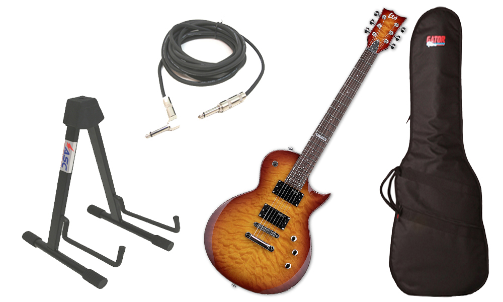 """ESP LTD EC Series EC-100M Quilted Maple 6 String Rosewood Fingerboard Faded Cherry Sunburst Electric Guitar with Travel Gig Bag, Stand & 1/4"""" Cable"""