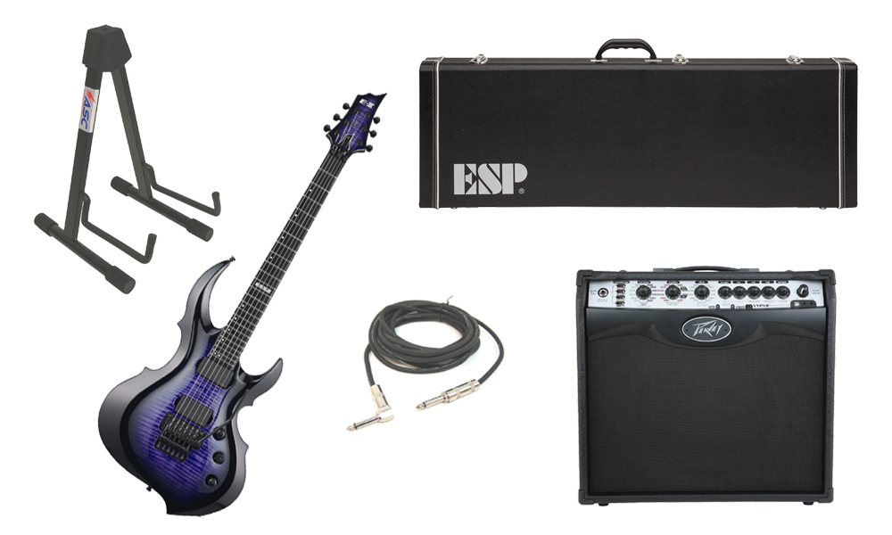 """ESP E-II FRX Flamed Maple Top 6 String Reindeer Blue Electric Guitar with Peavey VIP 2 Modeling Amp, 1/4"""" Cable & Stand"""