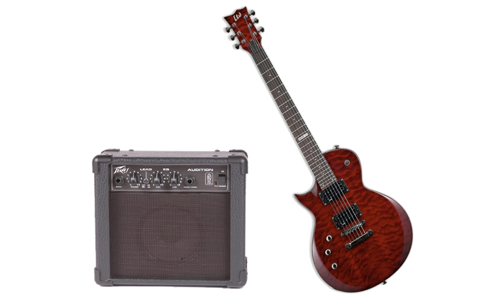 ESP LTD EC Series EC-1000M Quilted Maple 6 String Rosewood Fingerboard See Through Black Cherry Electric Guitar (Left Hand) & Peavey Audition Practice Amp