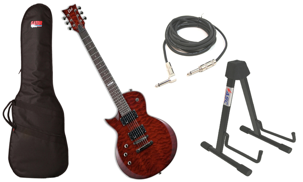 """ESP LTD EC Series EC-100QM Quilted Maple 6 String See Through Black Cherry Electric Guitar (Left Hand) with Travel Gig Bag, Stand & 1/4"""" Cable"""