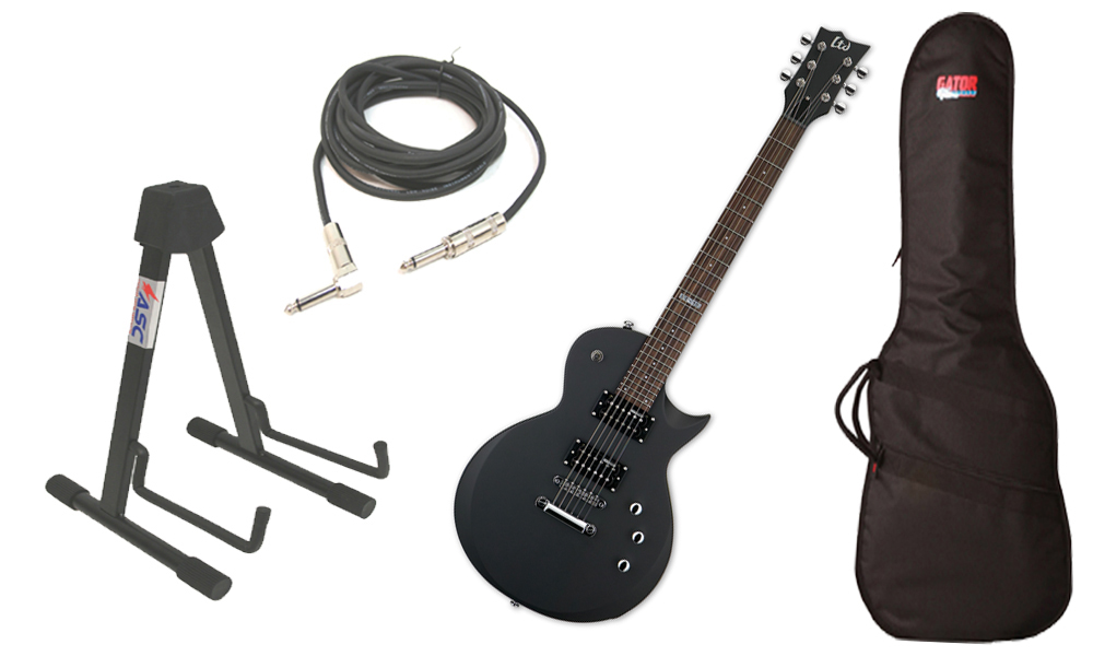 "ESP LTD EC Series EC-50 Basswood Body 6 String Rosewood Fingerboard Black Satin Electric Guitar with Travel Gig Bag, Stand & 1/4"" Cable"