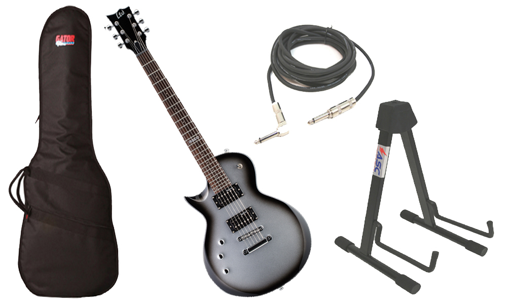 "ESP LTD EC Series EC-50 Basswood Body 6 String Rosewood Fingerboard Silver Sunburst Electric Guitar (Left Hand) with Travel Gig Bag, Stand & 1/4"" Cable"