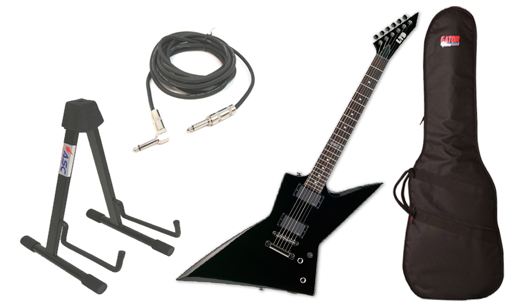"ESP LTD EX Series EX-360 Mahogany Body 6 String Rosewood Fingerboard Black Electric Guitar with Travel Gig Bag, Stand & 1/4"" Cable"