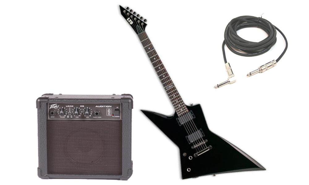 "ESP LTD EX Series EX-360 Mahogany Body 6 String Rosewood Fingerboard Black Electric Guitar (Left Hand) with Peavey Audition Practice Amp & 1/4"" Cable"