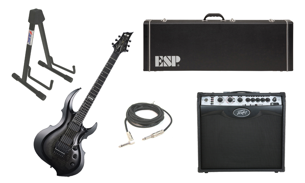 "ESP E-II FRX Flamed Maple Top 6 String See Through Black Sunburst Electric Guitar with Peavey VIP 2 Modeling Amp, 1/4"" Cable & Stand"