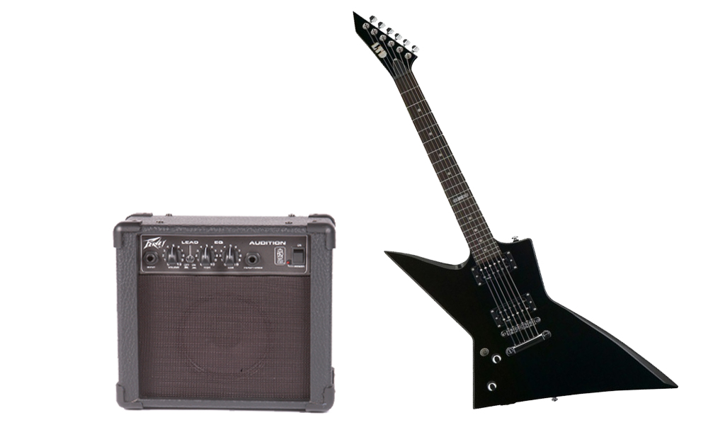 ESP LTD EX Series EX-50 Basswood Body 6 String Rosewood Fingerboard Black Electric Guitar (Left Hand) & Peavey Audition Practice Amp