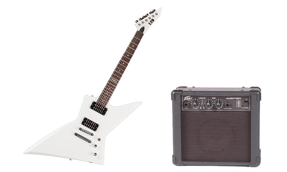 ESP LTD EX Series EX-50 Basswood Body 6 String Rosewood Fingerboard Snow White Electric Guitar & Peavey Audition Practice Amp