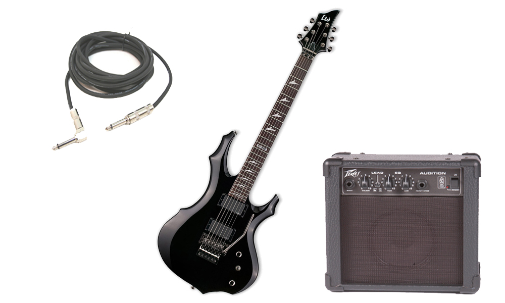 """ESP LTD F Series F-350 Mahogany Body 6 String Rosewood Fingerboard Black Electric Guitar with Peavey Audition Practice Amp & 1/4"""" Cable"""
