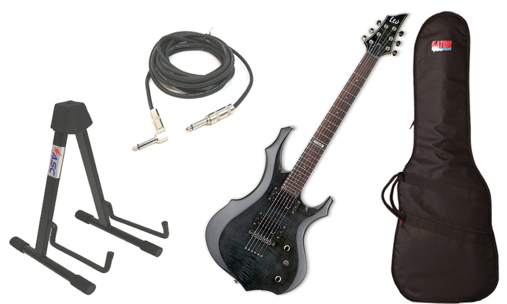 "ESP LTD F Series F-100FM Flamed Maple 6 String Rosewood Fingerboard See Through Black Electric Guitar with Travel Gig Bag, Stand & 1/4"" Cable"