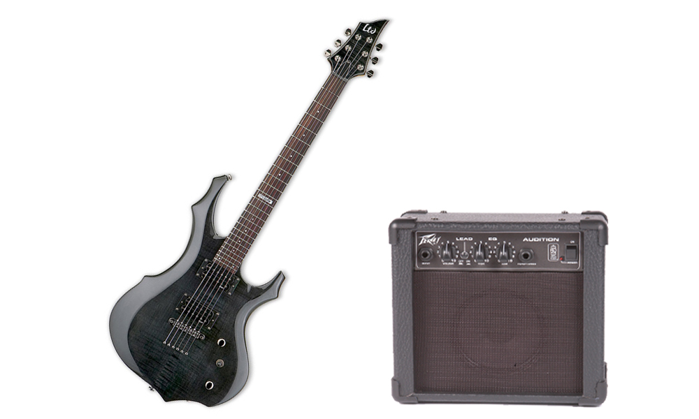 ESP LTD F Series F-100FM Flamed Maple 6 String Rosewood Fingerboard See Through Black Electric Guitar & Peavey Audition Practice Amp