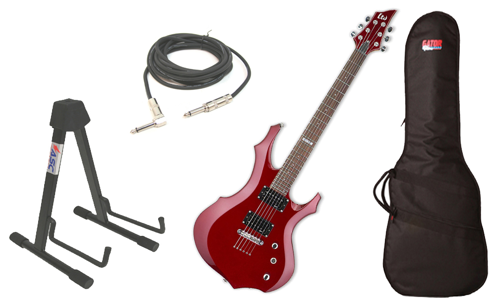 """ESP LTD F Series F-50 Basswood Body 6 String Rosewood Fingerboard Black Cherry Electric Guitar with Travel Gig Bag, Stand & 1/4"""" Cable"""