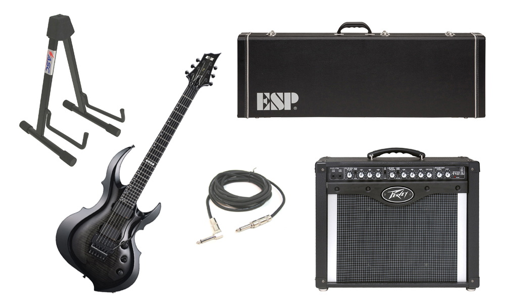 """ESP E-II FRX Flamed Maple Top 6 String See Through Black Sunburst Electric Guitar with Peavey Envoy 110 Tube Amp, 1/4"""" Cable & Stand"""