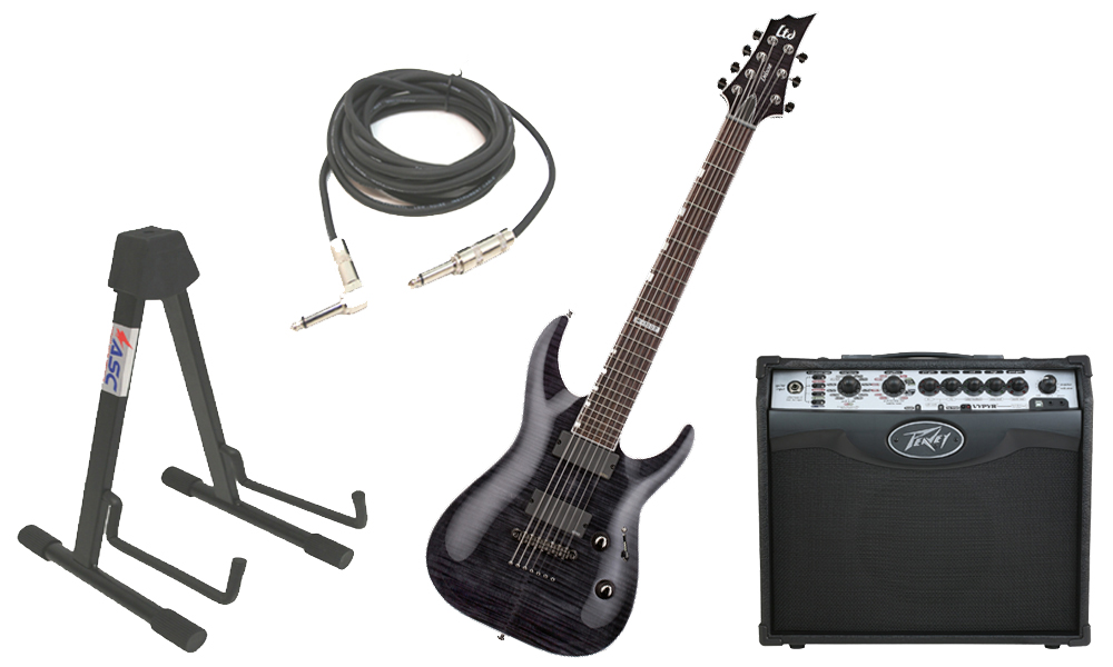 "ESP LTD H Series H-1007 Flamed Maple 7 String Rosewood Fingerboard See Through Black Electric Guitar with Peavey VIP 1 Modeling Amp, 1/4"" Cable & Stand"