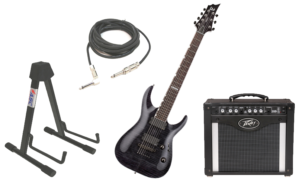 "ESP LTD H Series H-1007 Flamed Maple 7 String Rosewood Fingerboard See Through Black Electric Guitar with Peavey Rage 258 TransTube Amp, 1/4"" Cable & Stand"