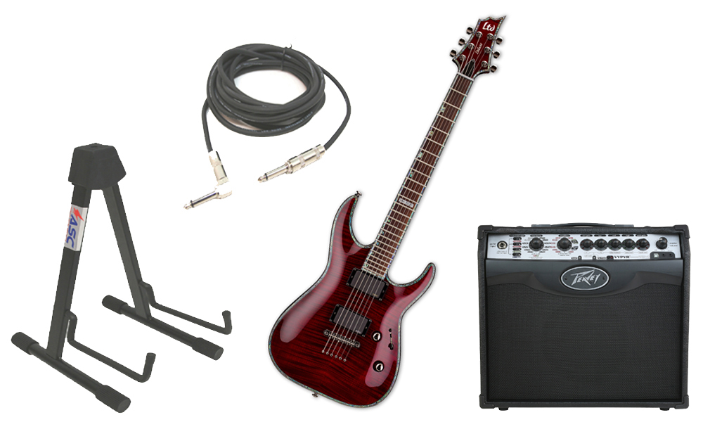 "ESP LTD H Series H-1001FM Flamed Maple 6 String Rosewood Fingerboard See Through Black Cherry Electric Guitar with Peavey VIP 1 Modeling Amp, 1/4"" Cable & Stand"