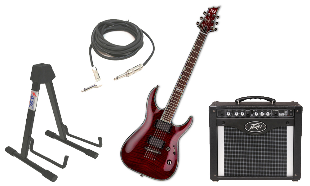 """ESP LTD H Series H-1001FM Flamed Maple 6 String Rosewood Fingerboard See Through Black Cherry Electric Guitar with Peavey Rage 258 TransTube Amp, 1/4"""" Cable & Stand"""