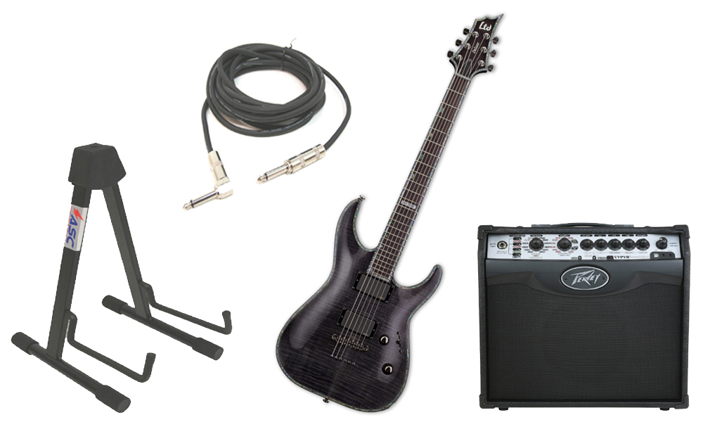 """ESP LTD H Series H-1001FM Flamed Maple 6 String Rosewood Fingerboard See Through Black Electric Guitar with Peavey VIP 1 Modeling Amp, 1/4"""" Cable & Stand"""