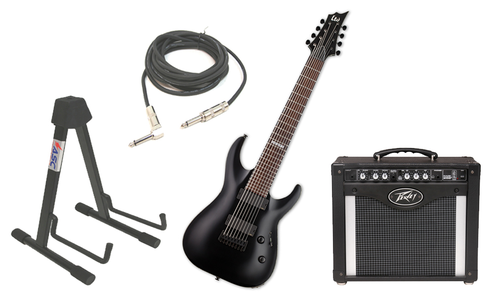"""ESP LTD H Series H-308 Mahogany Body 8 String Rosewood Fingerboard Black Satin Electric Guitar with Peavey Rage 258 TransTube Amp, 1/4"""" Cable & Stand"""