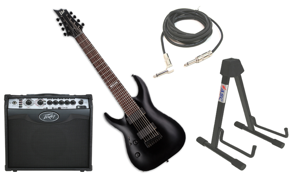 "ESP LTD H Series H-308 Mahogany Body 8 String Rosewood Fingerboard Black Satin Electric Guitar (left Hand) with Peavey VIP 1 Modeling Amp, 1/4"" Cable & Stand"