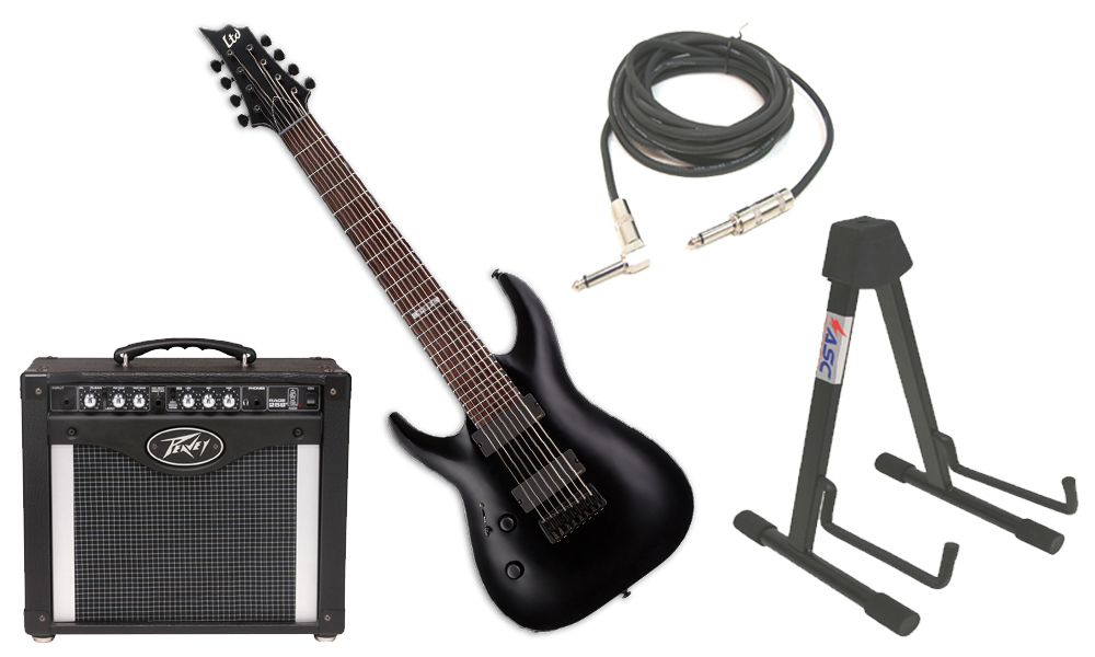 "ESP LTD H Series H-308 Mahogany Body 8 String Rosewood Fingerboard Black Satin Electric Guitar (left Hand) with Peavey Rage 258 TransTube Amp, 1/4"" Cable & Stand"