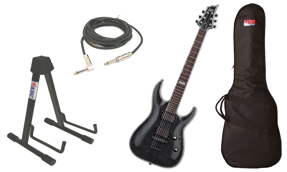 """ESP LTD H Series H-351 Flamed Maple 6 String Rosewood Fingerboard See Through Black Electric Guitar with Travel Gig Bag, Stand & 1/4"""" Cable"""