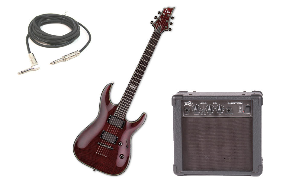 """ESP LTD H Series H-351 Flamed Maple 6 String Rosewood Fingerboard See Through Black Cherry Electric Guitar with Peavey Audition Practice Amp & 1/4"""" Cable"""