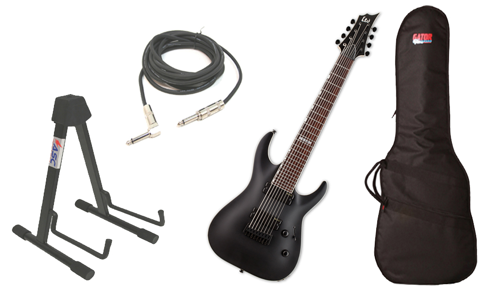 "ESP LTD H Series H-338 Mahogany Body 8 String Rosewood Fingerboard Black Satin Electric Guitar with Travel Gig Bag, Stand & 1/4"" Cable"