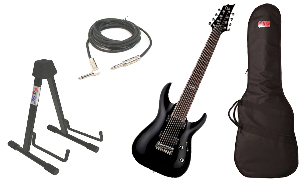 """ESP LTD H Series H-208 Basswood Body 8 String Rosewood Fingerboard Black Electric Guitar with Travel Gig Bag, Stand & 1/4"""" Cable"""