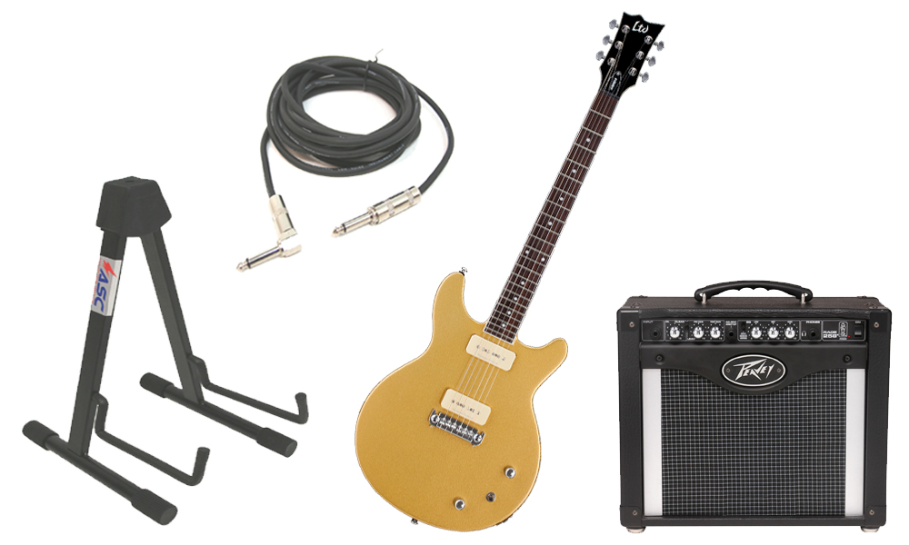 """ESP LTD Hybrid II Mahogany Body 6 String Rosewood Fingerboard Metallic Gold Electric Guitar with Peavey Rage 258 TransTube Amp, 1/4"""" Cable & Stand"""