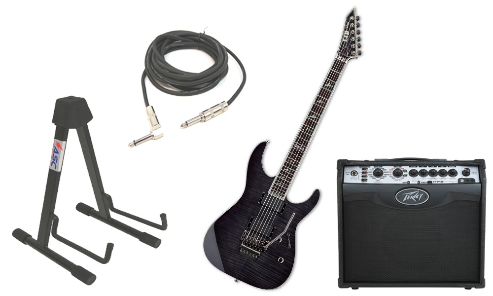 """ESP LTD M Series M-1000 Flamed Maple 6 String Rosewood Fingerboard See Through Black Electric Guitar with Peavey VIP 1 Modeling Amp, 1/4"""" Cable & Stand"""