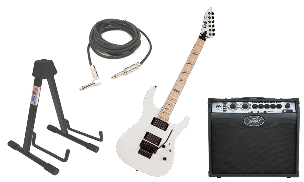 "ESP LTD M Series M-1000 Alder Body 6 String Maple Fingerboard Snow White Electric Guitar with Peavey VIP 1 Modeling Amp, 1/4"" Cable & Stand"