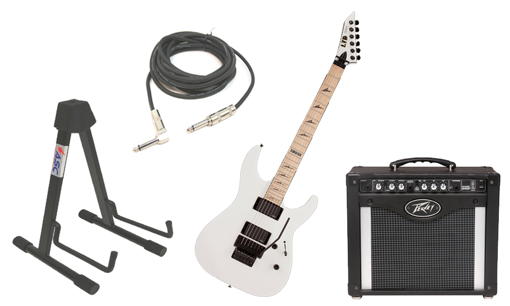 """ESP LTD M Series M-1000 Alder Body 6 String Maple Fingerboard Snow White Electric Guitar with Peavey Rage 258 TransTube Amp, 1/4"""" Cable & Stand"""