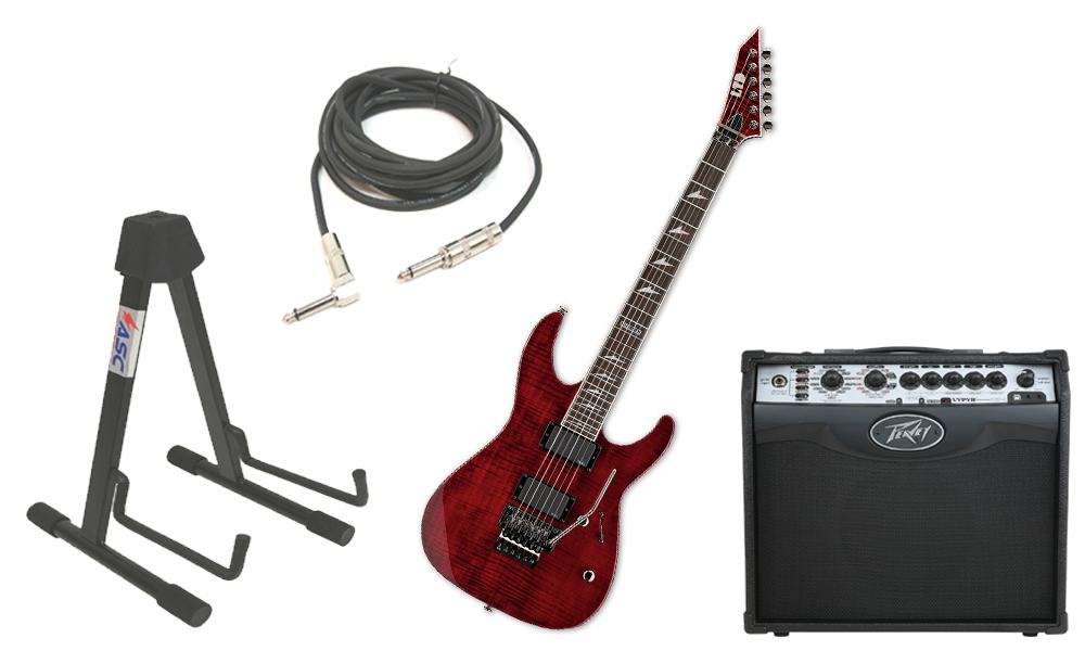 "ESP LTD M Series M-300FM Flamed Maple 6 String Rosewood Fingerboard See Through Black Cherry Electric Guitar with Peavey VIP 1 Modeling Amp, 1/4"" Cable & Stand"