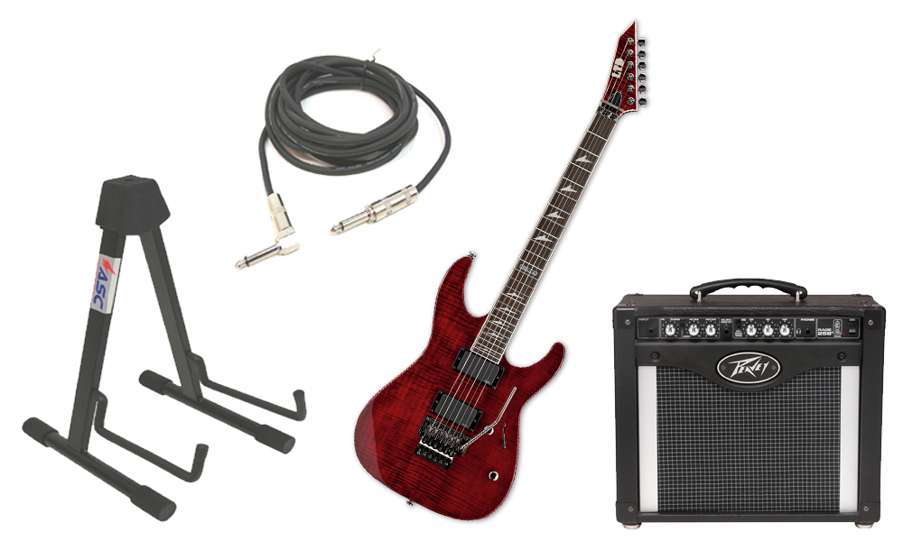 "ESP LTD M Series M-300FM Flamed Maple 6 String Rosewood Fingerboard See Through Black Cherry Electric Guitar with Peavey Rage 258 TransTube Amp, 1/4"" Cable & Stand"