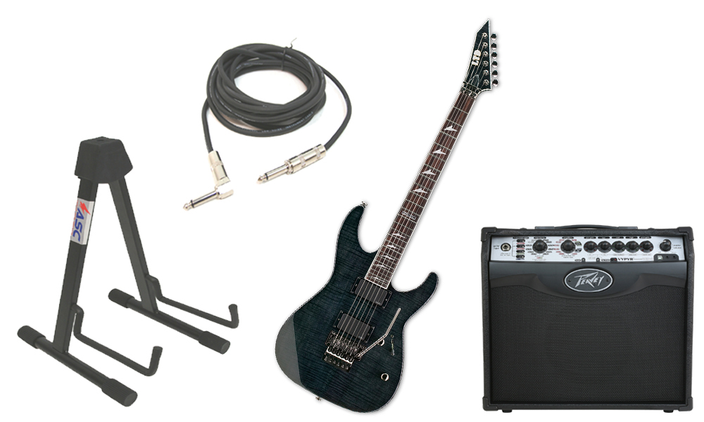 "ESP LTD M Series M-300FM Flamed Maple 6 String Rosewood Fingerboard See Through Black Electric Guitar with Peavey VIP 1 Modeling Amp, 1/4"" Cable & Stand"