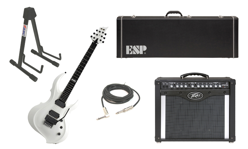 """ESP E-II FRX Maple Top 6 String Snow White Electric Guitar with Peavey Envoy 110 Tube Amp, 1/4"""" Cable & Stand"""